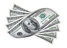 One hundred dollar banknotes on white Royalty Free Stock Images