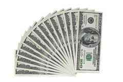 One hundred dollar banknotes on white background stock image