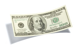 One Hundred Dollar Bill. A slightly curved American one hundred dollar bill with a drop shadow Stock Photos
