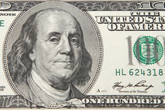 One hundred dollar bill. Close-up view of a 100 dollar United States treasury note royalty free stock images