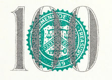 The one hundred on a dollar bill Royalty Free Stock Photography