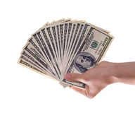 One hundred dollar bill. S on hand royalty free stock photography