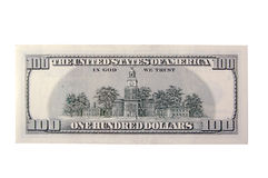 One Hundred Dollar Bill Back Royalty Free Stock Images