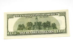 One hundred dollar bill back. Side Royalty Free Stock Images