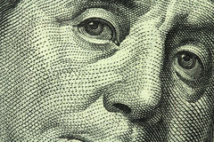 One hundred dollar bill. Closeup Royalty Free Stock Photography