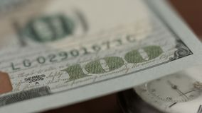 One hundred dollar bill, conspiracy and financial system, cash and banking. Stock photo royalty free stock images