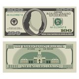 One hundred dollar bill. 100 dollars banknote, front and reverse side. Vector illustration isolated on white background Stock Photography