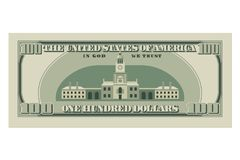 One hundred dollar bill. 100 dollars banknote, reverse side. Vector illustration isolated on white background Royalty Free Stock Images
