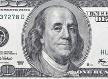 One hundred dollar bill fragment closeup Royalty Free Stock Image