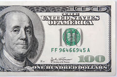 One HUndred Dollar Bill Half Royalty Free Stock Images