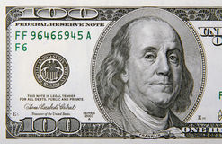 One HUndred Dollar Bill Half royalty free stock photos