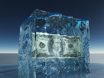 One hundred dollar bill in ice