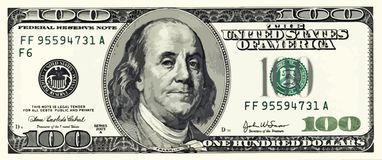 One Hundred Dollar Bill Illustration Vector. 100 USD Money Royalty Free Stock Images
