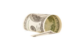 One hundred dollar bill, isolated Royalty Free Stock Photography