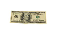 One hundred dollar bill isolated on white background Royalty Free Stock Images