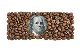 One hundred dollar bill made of coffee beans Royalty Free Stock Photos