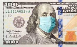 One Hundred Dollar Bill With Medical Face Mask on Benjamin Franklin