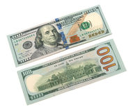 One hundred dollar bill. New one hundred dollar bill on a white background Royalty Free Stock Images