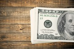 One hundred dollar bill. Currency stack dollar us currency paper currency finance Royalty Free Stock Images