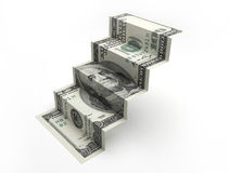 One hundred dollar bill staircase. Royalty Free Stock Photo
