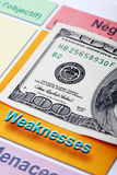 One hundred dollar bill and swot analysis close up Royalty Free Stock Image