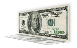 One hundred dollar bill on white background Royalty Free Stock Photos