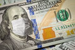 Free One Hundred Dollar Bill With Medical Face Mask On Benjamin Franklin Stock Photos - 174709683