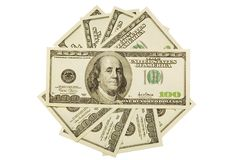 One hundred dollar bills. On white background. Isolated Stock Photography
