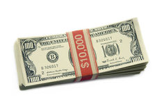 One Hundred Dollar Bills. Isolated shot of a stack of one hundred dollar bills to make ten thousand dollars Stock Image