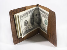 One-hundred dollar bills. In a leather billfold Stock Photography