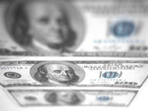 One hundred dollar bills. American one hundred dollar bills. May be useful as background Stock Images