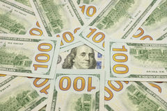 One Hundred Dollar Bills. Hundred Dollar Bills for background Stock Images