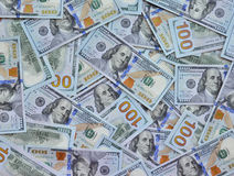 One Hundred Dollar Bills Background Stock Photo