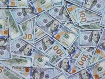 One Hundred Dollar Bills Background Stock Photo