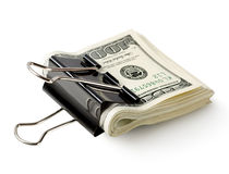One hundred dollar bills in the clip Royalty Free Stock Photo