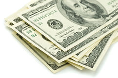 One hundred dollar bills. Close up of stack one hundred dollar bills Stock Image