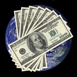 One hundred dollar bills on earth background Royalty Free Stock Photography