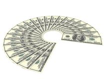 One Hundred Dollar Bills Fan On White Background Stock Image
