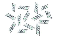 One Hundred dollar bills are flying. A lot of banknotes on a white background. Flat illustration EPS10 Stock Illustration