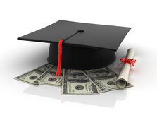 One Hundred Dollar bills with Graduation Cap Stock Photos