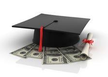 One Hundred Dollar bills with Graduation Cap Stock Photos