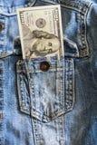 One hundred dollar bills in jeans pocket Stock Images