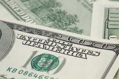 One hundred dollar bills macro photo Stock Images