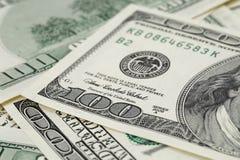 One hundred dollar bills macro photo Stock Photo