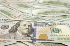 One Hundred Dollar Bills. Pattern of one hundred dollar bills close-up Royalty Free Stock Photos