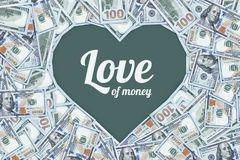 One hundred dollar bills in the shape of a heart, The love of money. The love of money. One hundred dollar bills in the shape of a heart. to make money Royalty Free Stock Photography