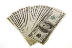 One Hundred Dollar Bills: Two Thousand. US Currency twenty One Hundred Dollar Bills = Two Thousand arranged, fanned out in a fan, isolated on white background Royalty Free Stock Image
