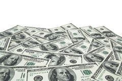 One hundred dollar bills on white background Royalty Free Stock Images