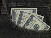 One-hundred dollar cash in pocket Royalty Free Stock Photo