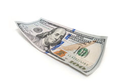One hundred dollar closeup. On white background Stock Photos